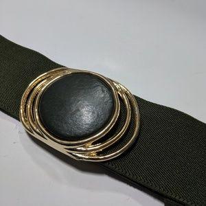 Vintage Olive Green adjustable Belt w/ Buckle